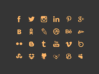 Social networking icons social icon facebook instagram twitter dribbble pinterest vimeo youtube githab free psd