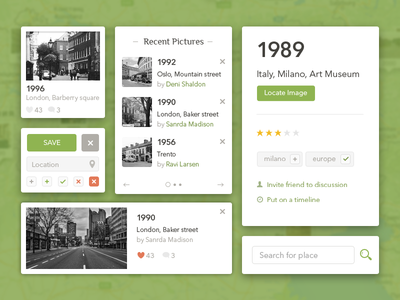 UI elements green web odessa style search card clean geotag interface ui