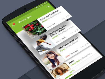 Cards material ux mobile challenge event list android card material design