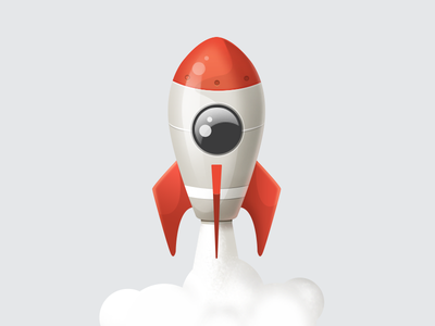 Rocket icon illustration startup red technic realistic toy rocket icon