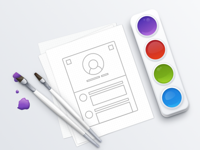 Design process illustration (made in Sketch 3) style branding colors paint prototype brush design icon soft light illustration