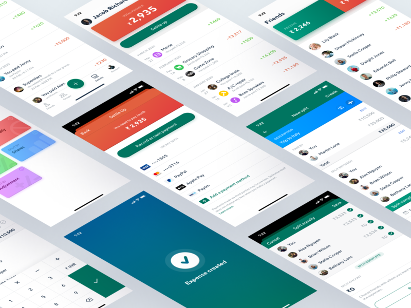 Splitwiser - App Redesign Screens modern minimal sleek clean flat icon design icons list view modal cards isometric illustration page screen screens pages isometric design isometric redesign mobile app mobile