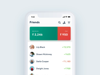 Home Screen Interactions - Splitwiser Mobile App modern animation after effects scroll animation 2d animation design cards list item gestures tab interactions buttons coins money finance mobile app app simple organic motion animation