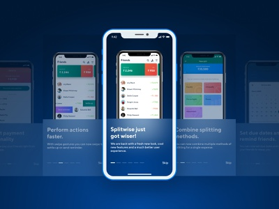 Onboarding Screens - Splitwiser App icons set icons items cards ui app design design redesign mobile app mobile cards carousel visual ui device free iphone mockup onboarding screen onboarding ui onboarding