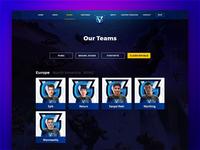 Teams Page - Vanguard eSports Website Redesign