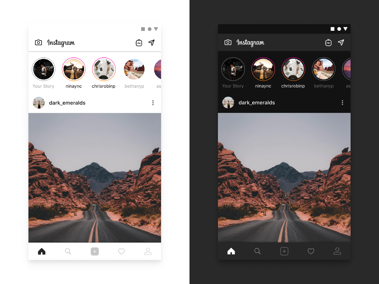 Instagram The Ultimate Guide To Designing Dark Theme By Chethan Kvs On Dribbble