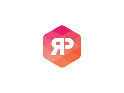 Logo RP logo mark concept branding social media agency octagon pink orange rose logotype octogone