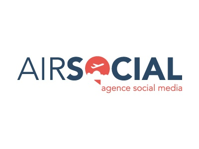 Logo Air Social logotype orange bleu avion agency social media branding concept mark logo aircraft cloud