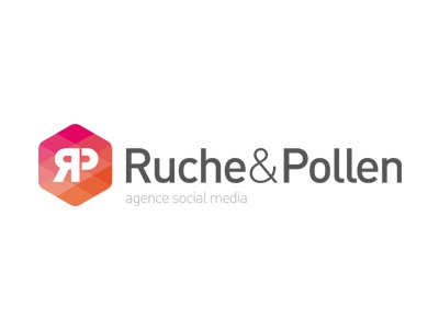 Logo Ruche&Pollen octogone logotype rose orange pink octagon agency social media branding concept mark logo
