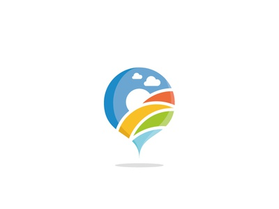 Dribbble Cep Logo field rainbow geolocalisation sky cloud colour landscape logotype pictogram picto geolocation logo