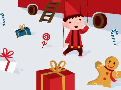 Illustration Marché de Noël / Christmas market noël christmas pantin marionnette puppet jouet toy pain dépice cadeau sucre dorge neige roulotte hiver winter illustration vecteur vectoriel rouge enfant enfantin illustrator
