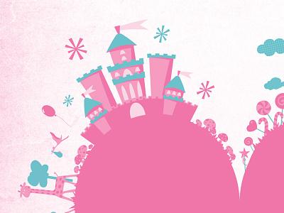 Monde enchanté / Enchanted world enfant enfantin féérique vectoriel vecteur girafe château étoiles cigogne ballon champignons nuages rose bleu cœur faire-part pink baby child castel invitation birth