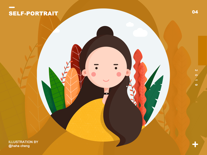 self-portrait illustration design ui