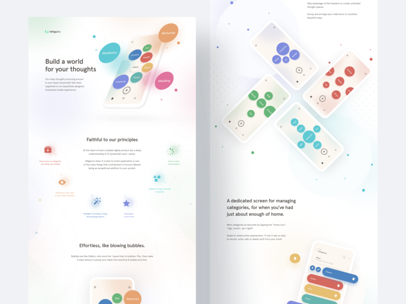 CocoonWeaver: Where Ideas Grow record mobile ui case study bubbles custom circles landing app thoughts ux ui minimal colorful behance ios mobile web design product design animation