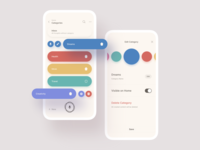 CocoonWeaver: Where Ideas Grow — Categories ideas list view settings edit fab circles visual mobile ui product design mobile colorful clean minimal ux ui colors swatches categories interface app
