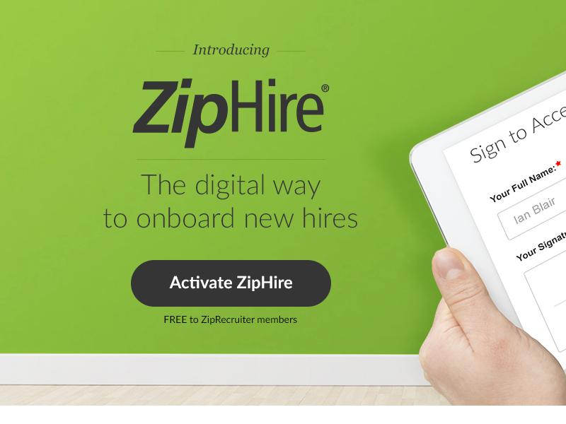 ZipHire Product Landing Page ziphire ziprecruiter hires web digital landing page onboard