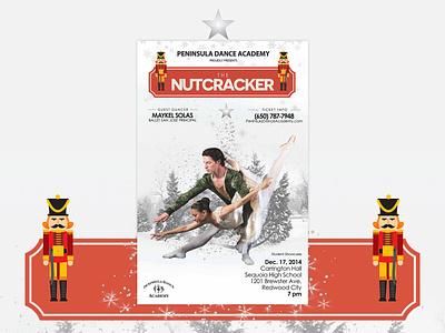 Nutcracker Ballet Poster Design graphic design xmas holidays christmas flyer invistation performance dancer invite show dance poster ballet nutcracker