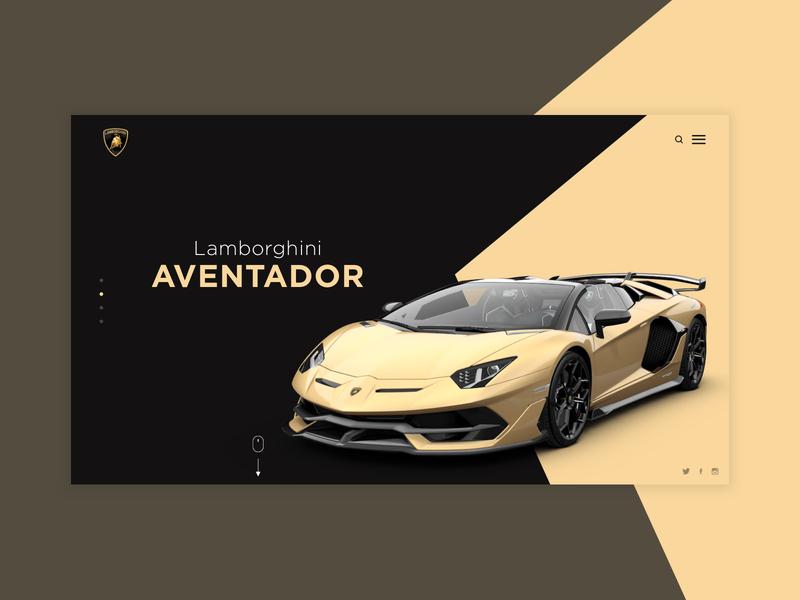 Lamborghini Aventador Concept golden gold gold car web design. website uiix design sports car vehicle design website concept aventador lamborghini