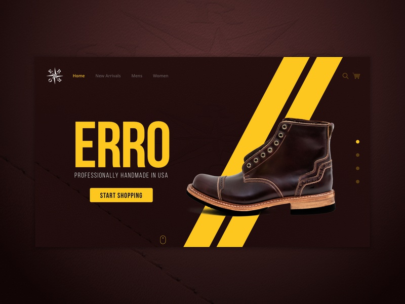 Erro Shoes Photos and Website Concept shoe photography product photography flat landing clean color landing page brown yellow lines leather website design concept website shoes erro
