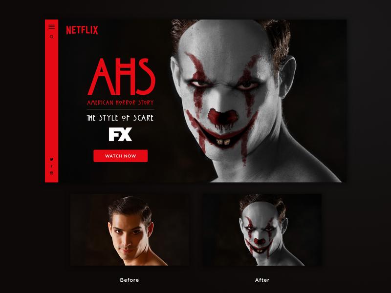 Clown Horror website Concept tv show netflix photography portrait photo editing clown concept design website horror ahs