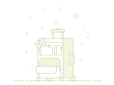 Luggage/Travel Suitcase outline ticket flat vector illustrations luggage travel suitcase