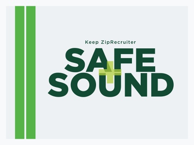 Safe & Sound logo ziprecruiter hotline branding graphic design design poster plus green logo sound safe