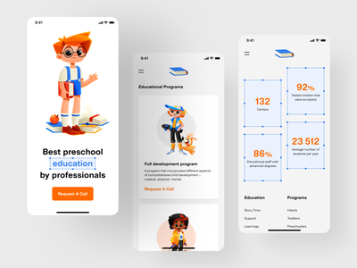 Child Development Center — Mobile Version education app uiux app design shakuro home page user interface design mobile ui stady education mobile app child illustration mobile ui ux design