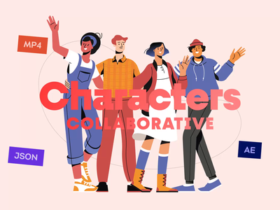 Collaborative Characters Animated Illustration Pack team work collaborative team job career worker master illustration pack character illustration shakuro characters illustration for web illustration animated illustration motion graphics ui ux interaction transition motion design animation