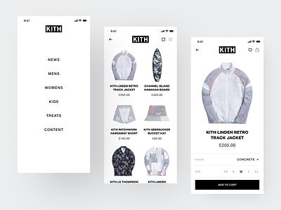 KITH Store App Design Concept ux kith menu purchase store clothes store e-commerce design concept ui mobile