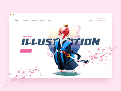 Homepage for Online Illustration Courses home page landing page concept web illustration character design 2d vector character illustration cat samurai illustration school design school illustration for web illustration website web design