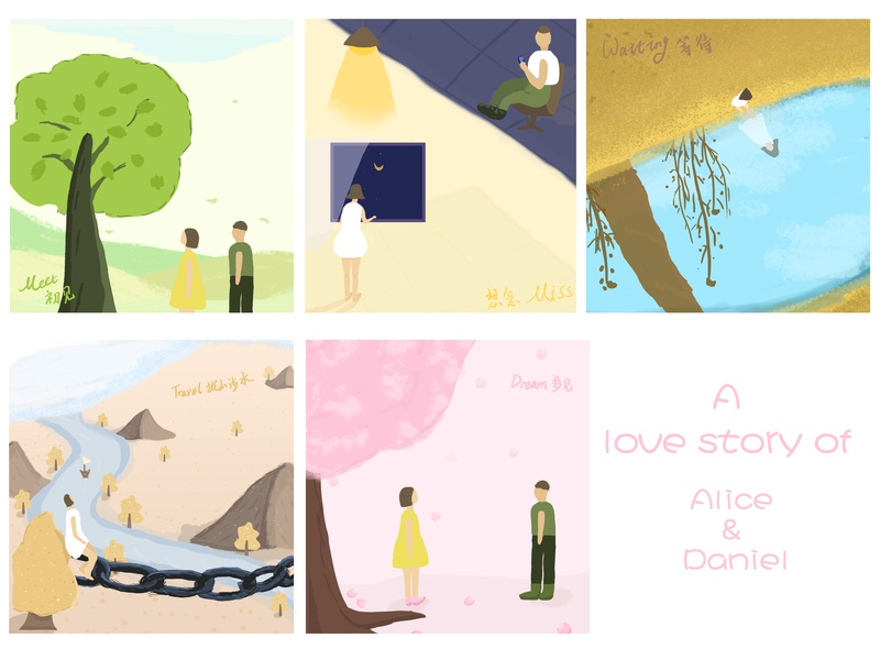 A love story of Alice and Daniel design illustration drawing