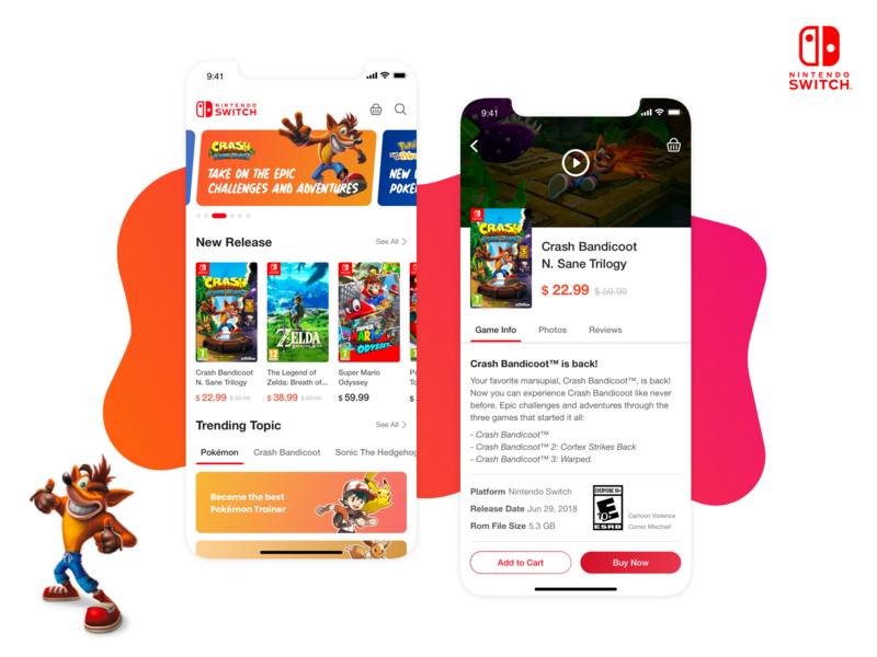 Nintendo Switch Store product page nintendo crash bandicoot homepage product design ux ui