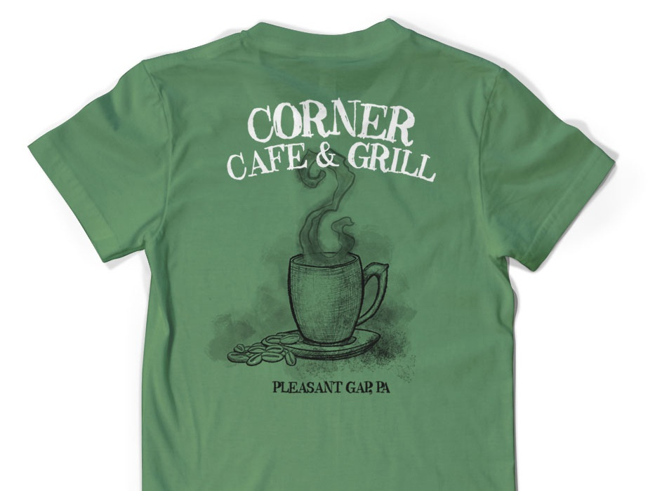 Corner Cafe & Grill grill tea restaurrant cafe coffee typography logo graphic  design branding graphic art design hand drawn illustration