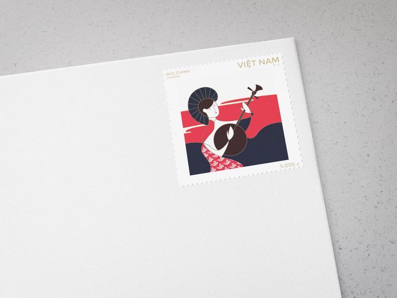 Stamp vector tradicional music stamp design stamp