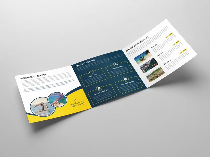 Travel Agency Square Tri-fold Brochure Design template promotional professional trifold business brochure trifold brochure product report modern company corporate stationery catalog brochure design leaflet layout brochure template template design business brochure