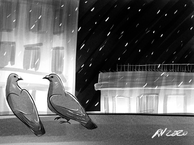 2020 holiday art digital painting holiday card pigeons