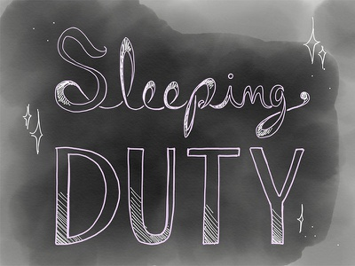 "Sleeping Duty logo, ""Finished"" logo sleeping beauty"