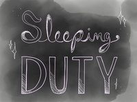"Sleeping Duty logo, ""Finished"""