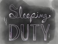 """Sleeping Duty logo, """"Finished"""""""