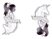 Alice and Unicorn Tattoo design