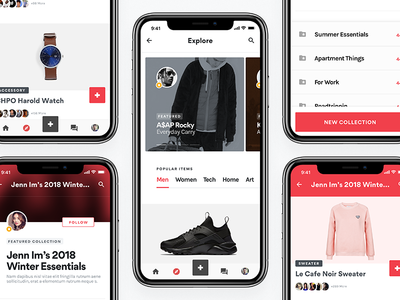 Kollectr Grid mobile app ios iphonex community collections ecommerce shoes mobile ui fashion