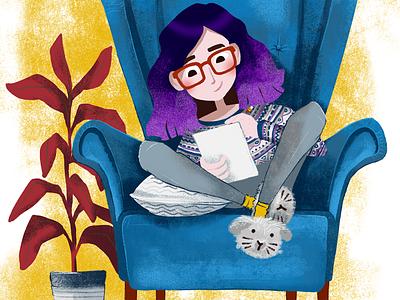 An autoportrait ikea illustration life leisuretime read draw livingroom home woman character myself
