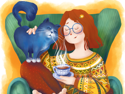 A girl with her cat together beverage peace armchair tea relax sweater leisure teatime coffee cat girl