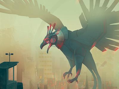 Phoenix world illustration storm sandstorm dystopia dust robot universe madmax cyberpunk utopian dystopian phoenix
