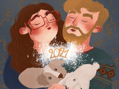 New Year card 2021 hipster cozy illustrator character love pf sweater sparks portraits 2021 new year card new year couple