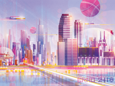 Hello Dribbble! debut shot first shot shot first skyscrapers city thanks invitation illustration dribbble debut ball