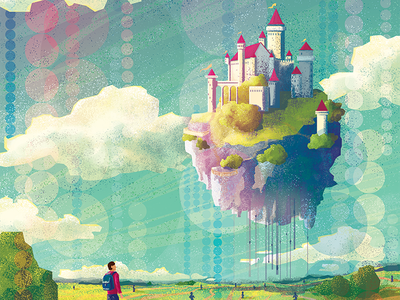 Castle of dreams life blue colorful vector illustration clouds fly countryside way journey dream castle