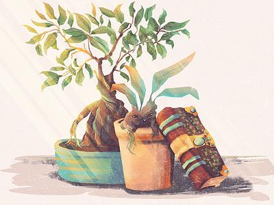 Just a little magic plants things table fairies fairy bonsai book harry potter mandragora spells magic illustration