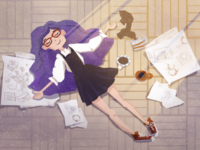 Artist's relief purple hair floor finish laying illustration relax relief coffee girl artist
