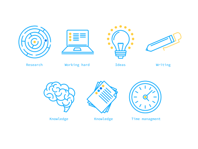How to Write a Thesis branding logo mark identify vector illustration app set abstract science writing thesis icon